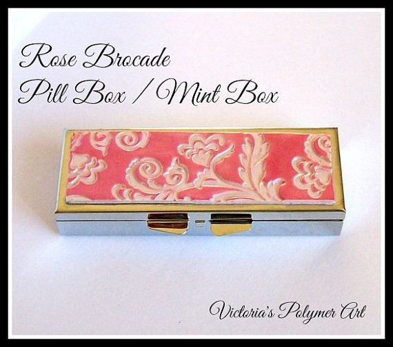 Pill Box / Mint Box  3 Compartments in Rose by VictoriasPolymerArt, £7.25