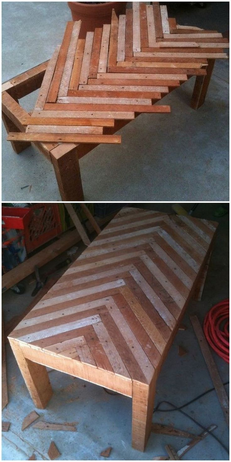 Tischkonstruktion aus Palettenholz. #WoodWorking