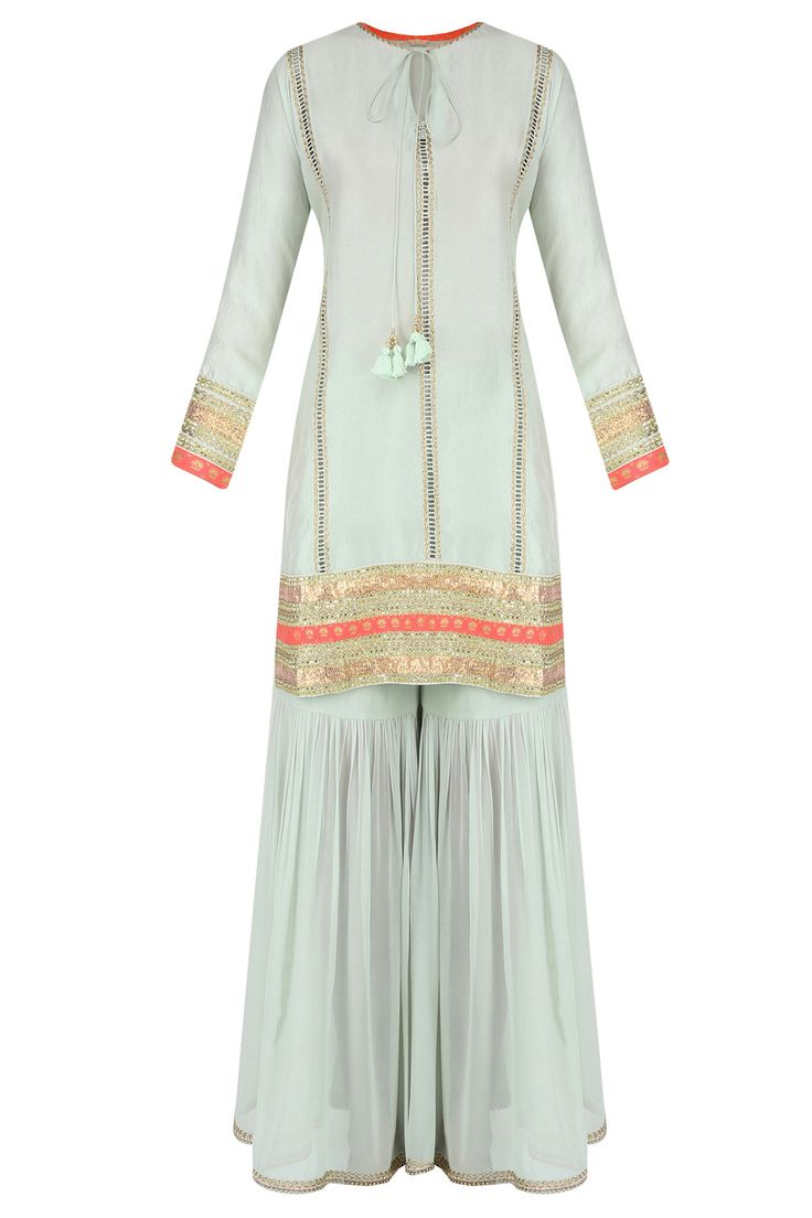 Mint ladder lace kurta with gathered sharara and printed dupatta available only at sajsacouture@gmail.com