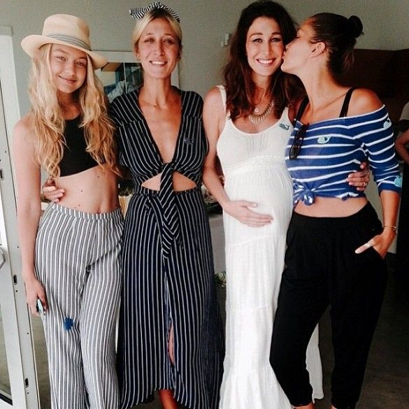 Gigi Hadid, her sister, Alana and friends.