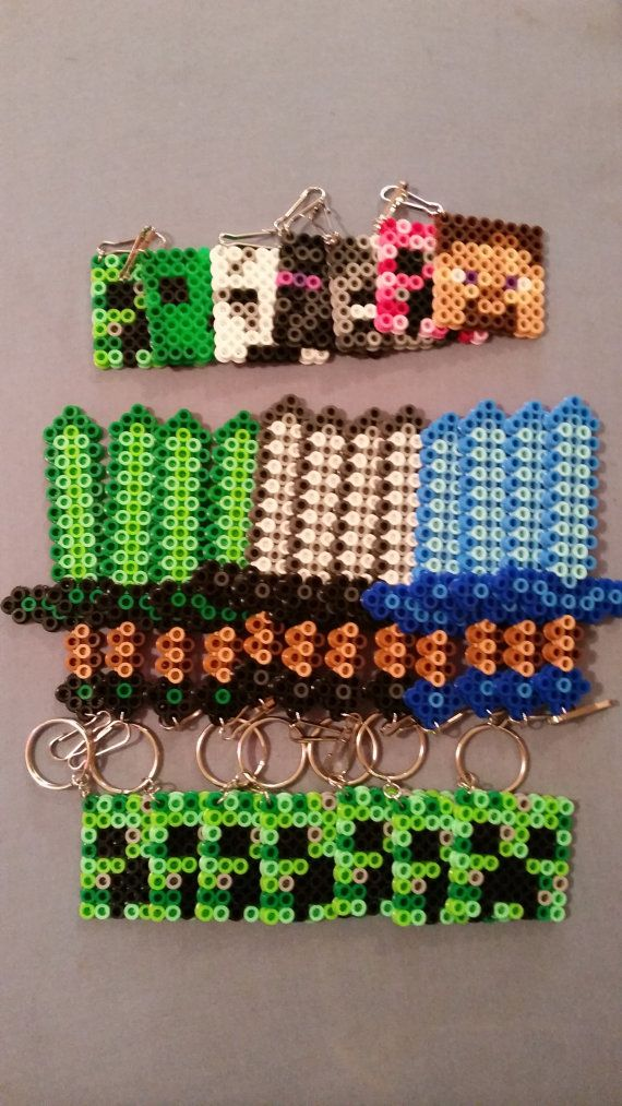 Minecraft Perler Bead Keychains Magnets Lanyard by AshMoonDesigns