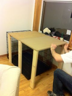 Dog Crate table - DIY Slide over table  from twokittiesonepittie.com