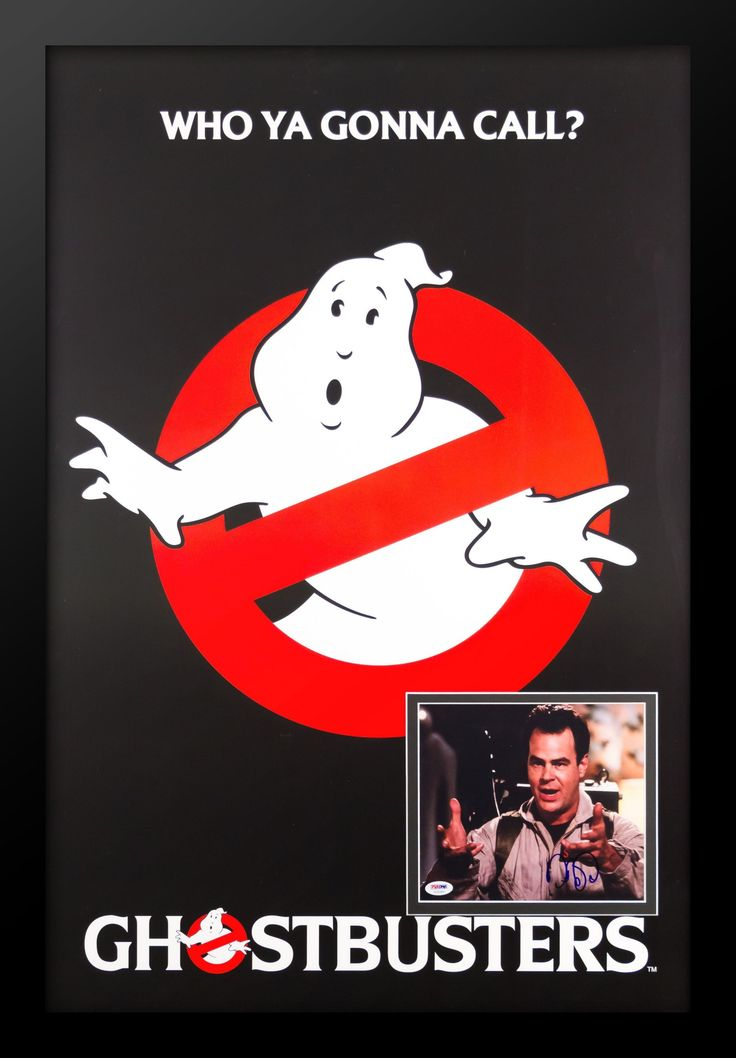 Ghostbusters - Movie Poster with Signed Photo by Dan Aykroyd PSA/DNA