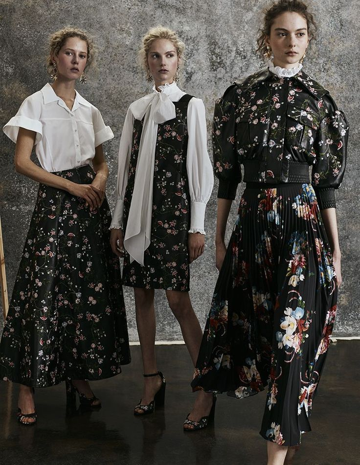 Flowers on a black background, and a #modest length. Erdem Pre-Fall 2017 Fashion Show