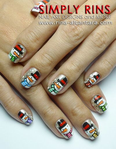 Christmas Snowman Nail Art Design: Scroll to the bottom of the link and you will find a video tutorial.
