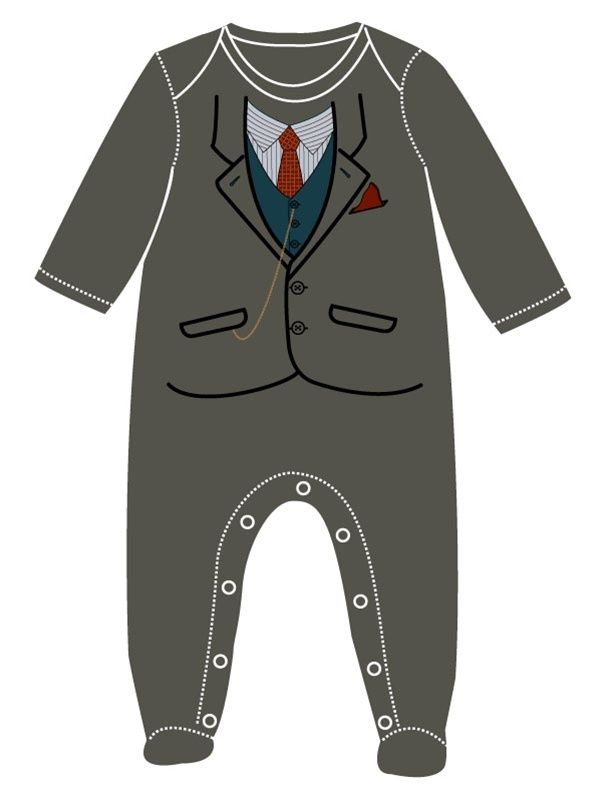 Grey Suit Footsie by Sara Kety Baby & Kids