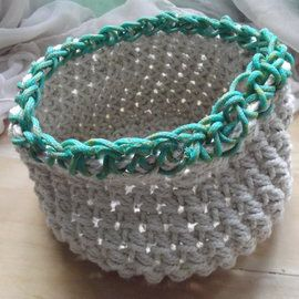 One of a kind natural cotton twine basket with turquoise accents on found fibre from a Cape Town beach.