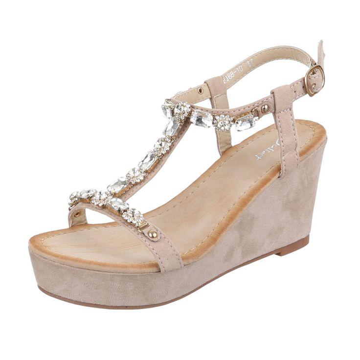18,99 € - Modische Damen Keilabsatz Riemen Sandaletten mit besetzten Schmucksteinen.