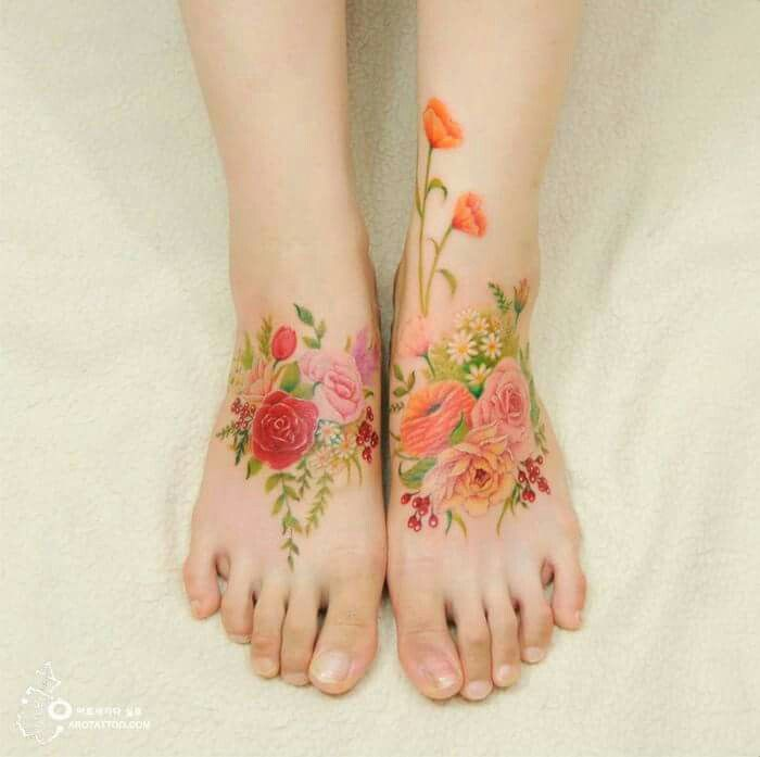 Watercolor tattoo - no black outlines