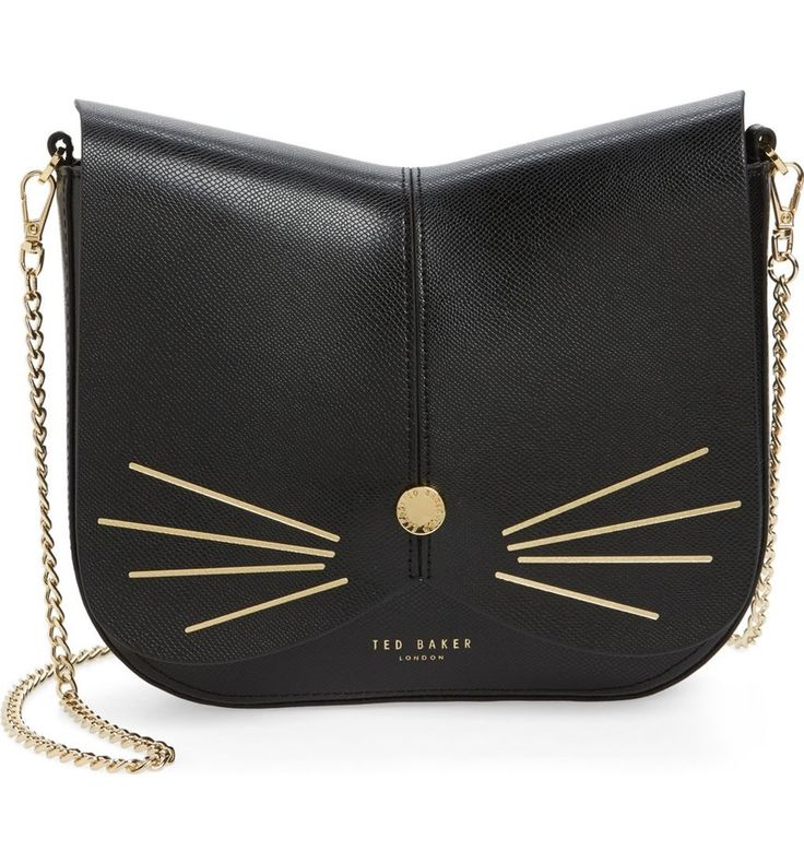 This feline-inspired handbag complete with whiskers, a button nose and a scalloped flap will make be too cute.