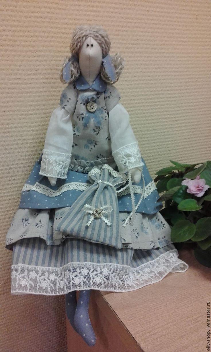 Купить Интерьерная кукла Бохо - голубой, кукла, кукла Тильда, интерьерная кукла, кукла бохо ♡