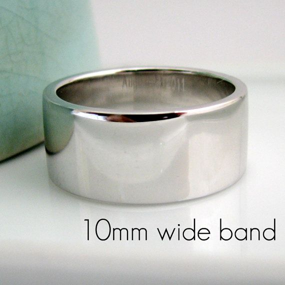 9mm12mm Extra Thick Wedding Band White Gold by 360JewelsElite, $85.00