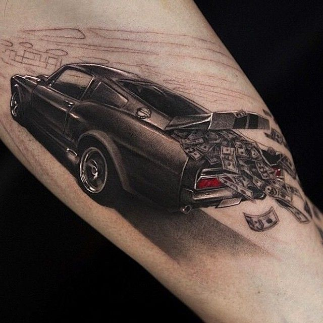 one of the cleanest Mustang tattoos I've seen