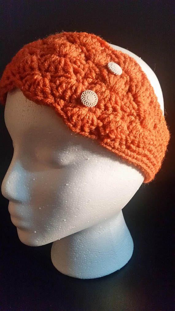 Womens Headband Crochet Ear Warmer Shell by OwlCrochetForYou