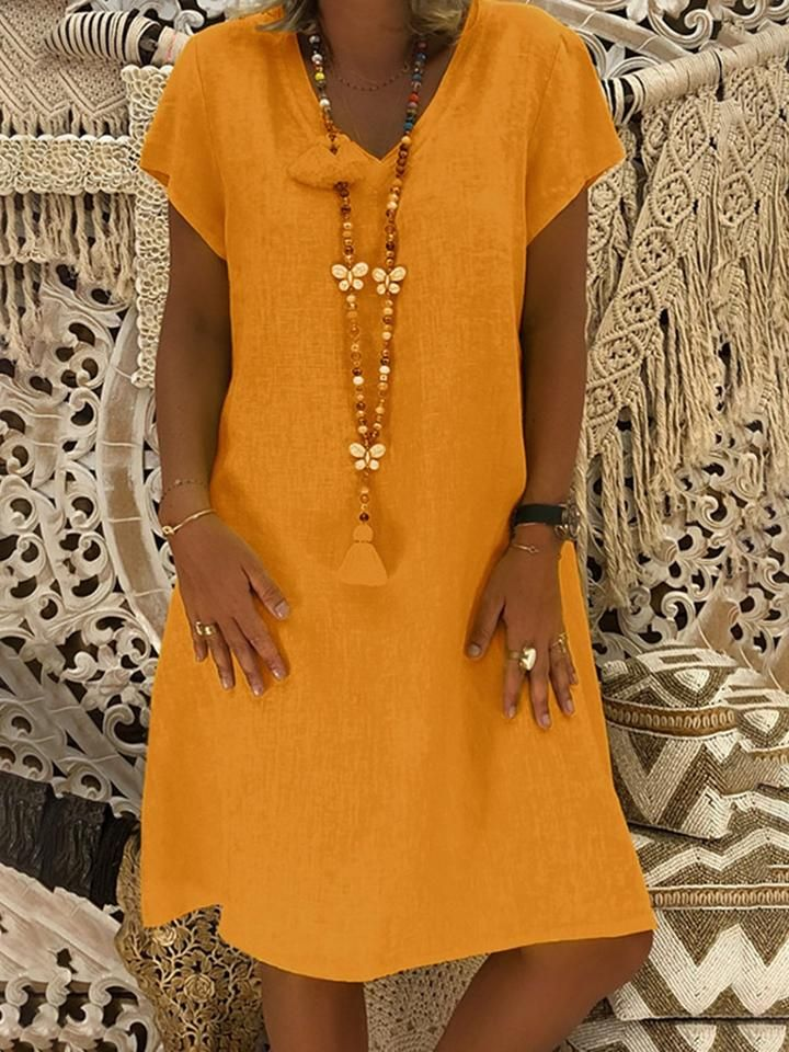 f332f8737d07 wowtreks Summer Dresses Casual Dresses Daily Shift V-Neck Short Sleeve Casual  Dresses – Wowtreks