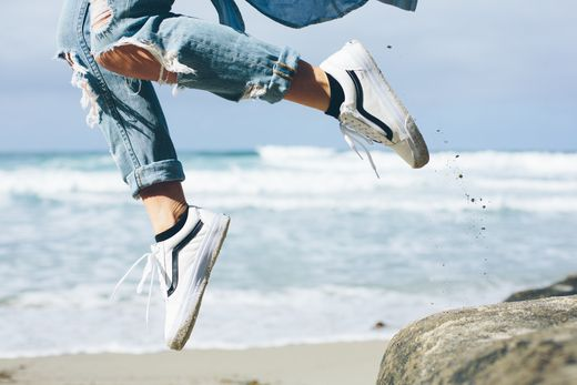 Jump For Joy: @Leila_Hurst in the Premium Leather Old Skool Zip.  Photo by Gage Hingeley.