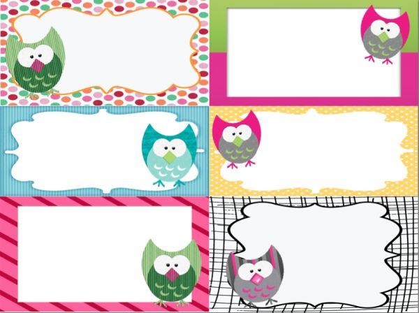 owl labels printable