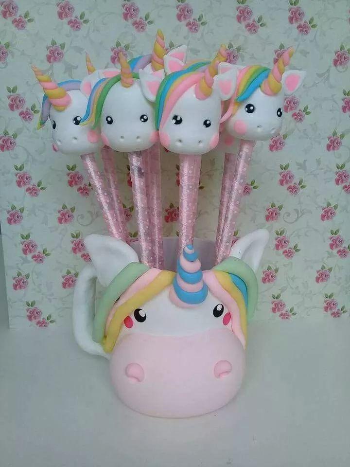 souvenirs 10 lápices unicornios con porcelana fria