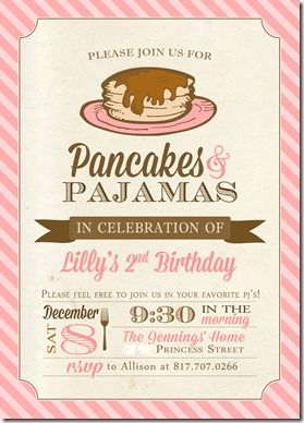 Super cute idea Pancakes & pajamas party