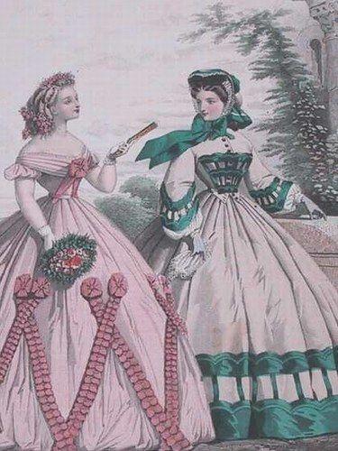 1862 - Le Moniteur - 2 robes l'une d'après-midi, l'autre de soirée Victoria et Elizabeth