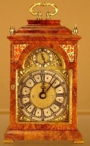 Beautiful WORKING 1:12 scale Burr Walnut English Inverted Bell Top Bracket Clock: Halls Miniature Clocks.