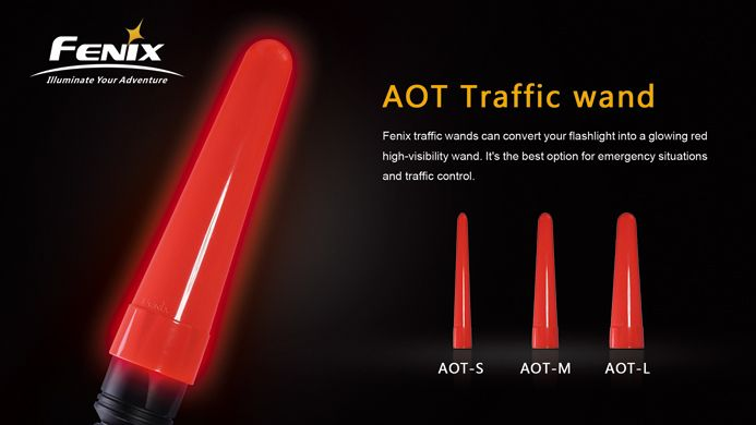 Fenix traffic wands can convert your flashlight into a glowing red high-visibility wand. It's the best option for emergency situations and traffic control.Features·Made of PC 2805 plastic created by Bayer Material Science AG, high quality guarantee·Anti-impact and anti-heat compressive resistant, super durable, which is known as bullet-proof plastic·High temperature durability·Easy to attach, easy to remove.·AOT-L is compatible with: E40\E50\LD41\TK22\RC15 etc.·AOT-M is compatible with: ...