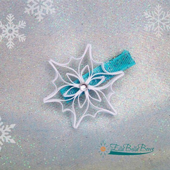 Snowflake Ribbon Sculpture Hair Clip Icy hair by EllaBellaBowsWI