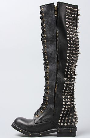 Jeffrey Campbell Boot Studded Lace Up in Black : Love the studs and spikes, just imagine hurting myself in these haha.