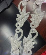 beautiful flower leaf crystal rhinestone applique in pairs for bridal wedding dress women gown clothing crafts embellishments(China (Mainland))