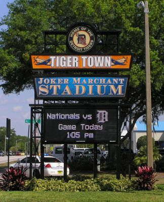 "Joker Marchant Stadium, ""Tiger Town,"" Lakeland, FL. Spring training home of the Detroit Tigers baseball team. In 2014, the Detroit Tigers will begin their 78th season in Lakeland."