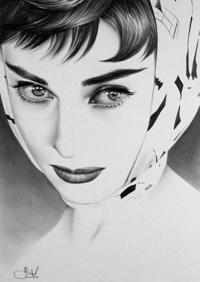 Audrey Hepburn Fine Art  Print Pencil Drawing Portrait Hand Signed by the Artist