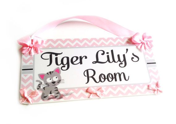 personalized pink and grey cat tiger chevron sign by kasefazem, $16.99