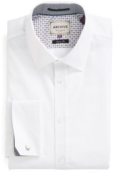 Men's Ted Baker London 'Beehive' Trim Fit Solid Dress Shirt