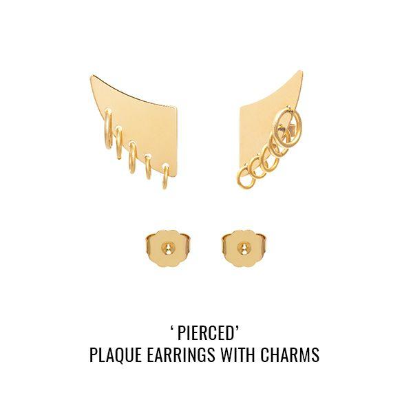 'Pierced' multi hoops plaque earrings: MFP signature multi-hoops effect plaque earrings. Standard butterfly closure at the back. As seen on Jess Glynne.