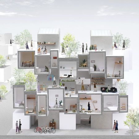 Five architects have been shortlisted for UPTO35, a competition to design an affordable student housing complex in Athens, Greece. The five practices are: 101DESIGN of Japan; Solid Objectives – Idenburg Liu of the United States (above); Joao Prates Ruivo + Raquel Maria Oliveira of Greece (below); KUMS of The Netherlands; and Suppose Design Office of More
