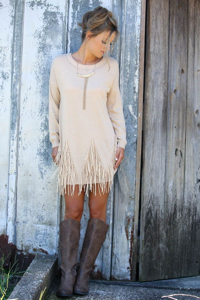 Boho Breeze Oatmeal Long Sleeve Sweater Dress With Fringe Details