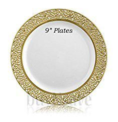 "Disposable Thanksgiving Plates. buyNsave White with Gold Heavyweight Plastic Elegant Disposable Plates, Wedding Party Elegant Dinnerware, Inspiration Collection (40, 9"" Dinner Plates).  #disposable #thanksgiving #plates #disposablethanksgiving #thanksgivingplates"
