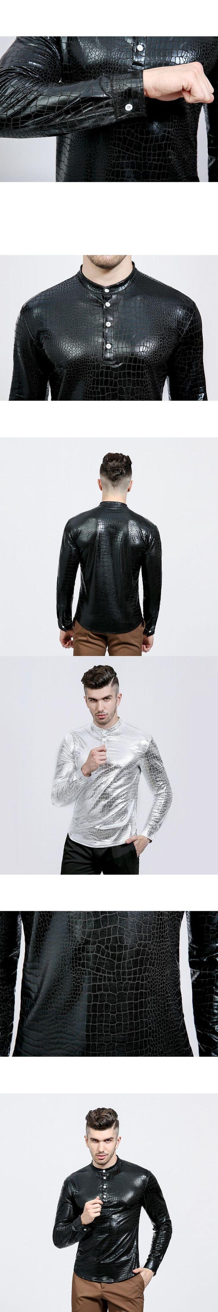Night Club Wear Men's Elastic Shirts Slim Fit Fashion Metallic Shiny Shirt Mens Shirts Long Sleeve Chemise Homme Clothing
