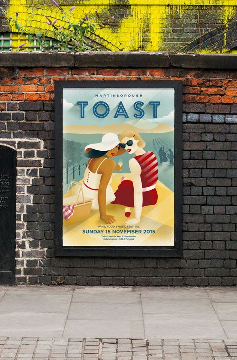 Toast Identity, poster and collateral for the New Zealand's premiere wine, food and music festival. Ilustration: Kelly Thompson Design: Txell Gracia - 2015 Toast Martinborough