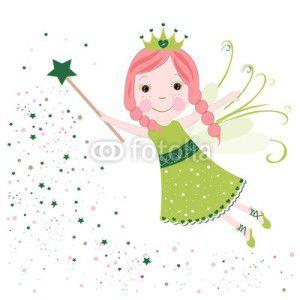 Peri Kızı Vektör Tasarımlarım * Cute fairytale green stars shining vector