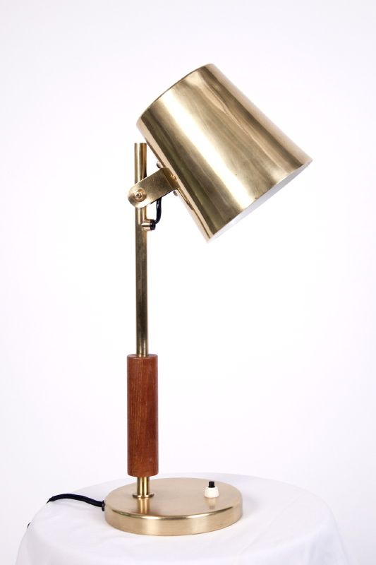 Bernd Goeckler Antiques. Desk Lamp Paavo Tynell Finland, ca. 1950 Brass base and shaft, sleeved in stained oak supporting an adjustable downlight with a brass shade.