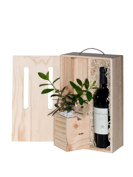 Tree with wine gift - you supply the wine, we pack it along with your tree gift. Delivery throughout NZ