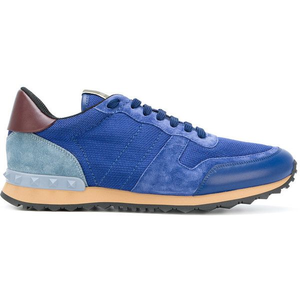 Valentino Garavani Rockrunner sneakers (€520) ❤ liked on Polyvore featuring men's fashion, men's shoes, men's sneakers, blue, valentino mens shoes, mens blue sneakers, mens lace up shoes, mens blue shoes and mens round toe shoes