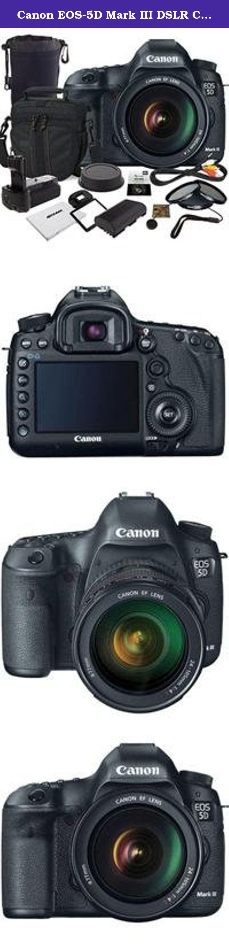 Canon EOS-5D Mark III DSLR Camera Bundle. USA. Value Kit with Accessories. Canon EOS 5D Mark III Pro HDSLR the Long-awaited successor to groundbreaking Canon 5D Mark II The Canon EOS 5D Mark III is an HDSLR designed to build on the unprecedented success of its predecessor, the Canon EOS 5D Mark II. The 5DMII broke new ground in the world of HD video, offering true high-resolution, cinema-quality video capture for the first time in a DSLR, and started a resolution in cinematography that...