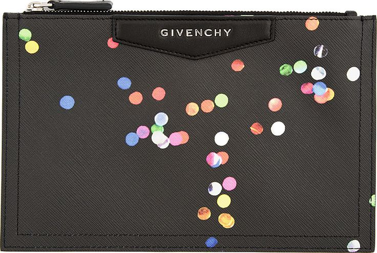 Givenchy - Black Leather Confetti Print Zip Pouch