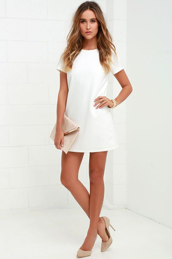 Shift and Shout Ivory Shift Dress at Lulus.com.  Nothing will be hotter or more on trend than a white shift dress with nude heels and a clutch this summer for happy hour, drinks on the weekend, or a date.