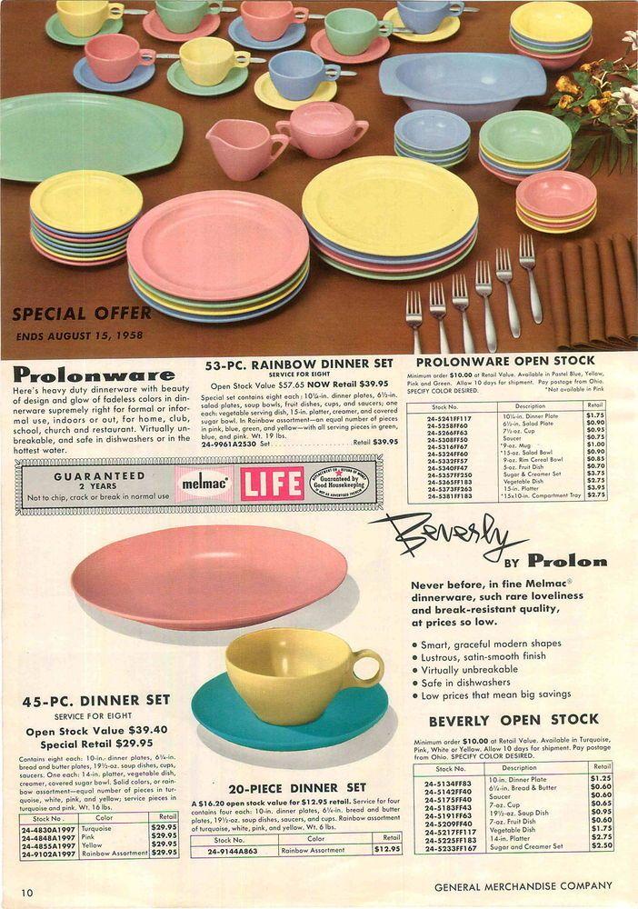 1958 ADVERTISEMENT Prolon Florence Melamine Dinnerware Prolonware Beverly Melmac & 239 best Magic of Melmac images on Pinterest   Dish sets Dishes ...