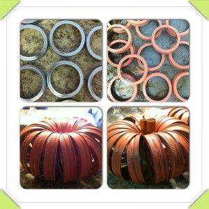 Fall Pumpkins made from Mason jar rings