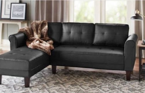 Black Leather Sofa Sectional Contemporary Couch Reversible Living Room Furniture #ad