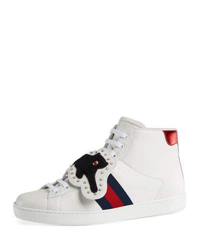 bf8af7045c6 GUCCI NEW ACE HIGH-TOP SNEAKER WITH REMOVABLE EMBROIDERIES.  gucci  shoes